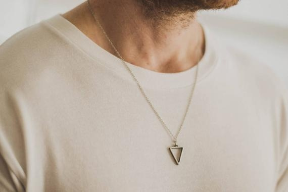 Men Jewelry, groomsmen, Men  Necklace, Triangles