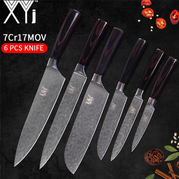 XYj Top Quality Kitchen Knife Set 6 pcs Stainless Steel Ultra Sharp Blade  Pakka Wood Handle Knife Chef Knives Set