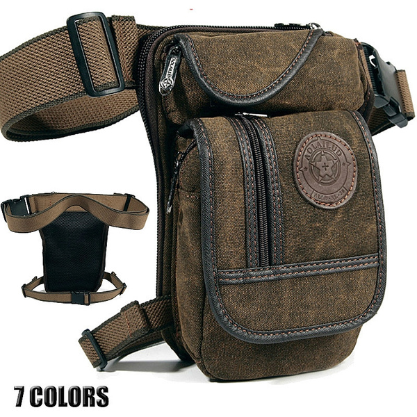 1x Rider Motorcycle Leg Bag Hip Drop Men Nylon Military Travel Waist Pack Black