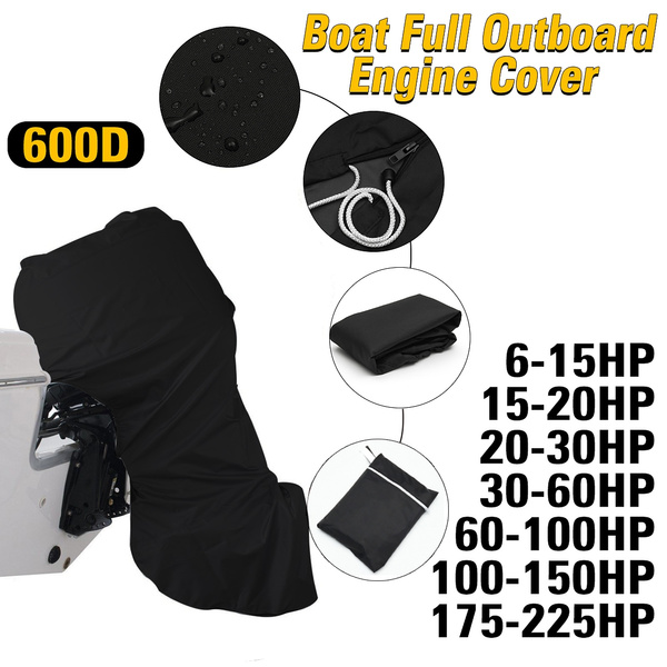 420D Waterproof Black Boat Full Outboard Engine Cover Protector For  6-15HP/15-20HP/20-30HP/30-60HP/60-100HP/100-150HP Motor