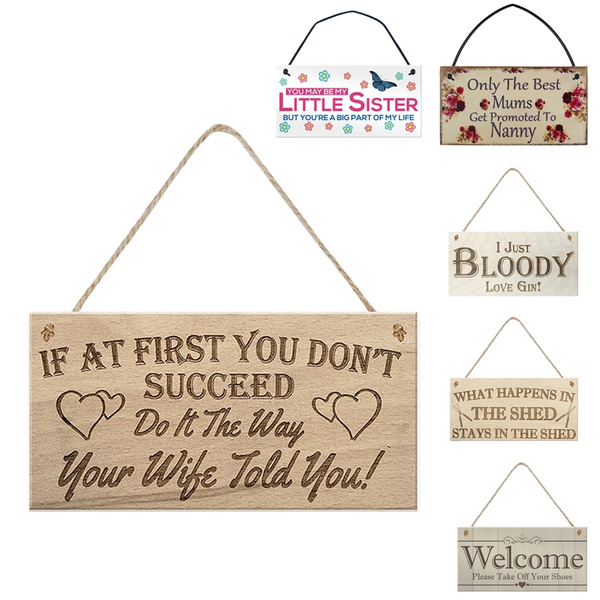 Funny Quote Wall Decor Signs Mums Sister Wife Art Welcome Decorative Wood Sign Plaque