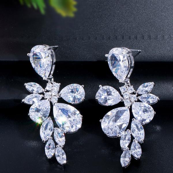 Cubic Zirconia, Flowers, Jewelry, Bridal wedding