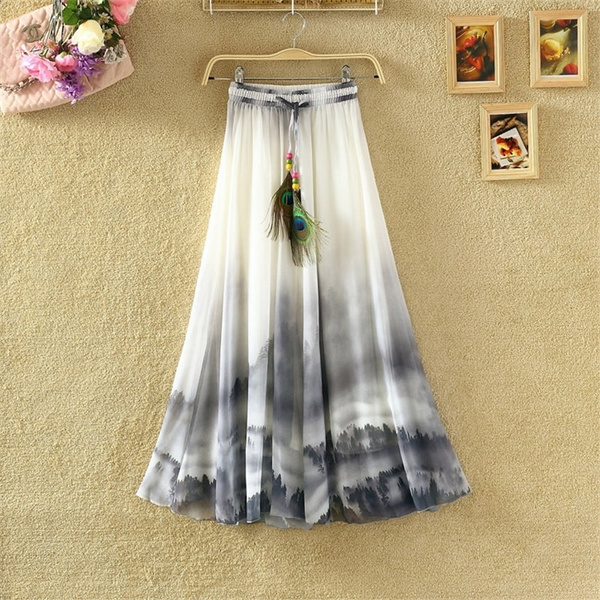 Summer, long skirt, chiffon, Elegant