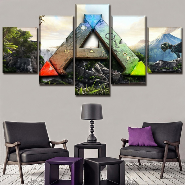 Canvas Posters Home Decor Wall Art Framework 5 Pieces Game Ark Survival Evolved Logo Paintings For Living Room Hd Print Picture Wish