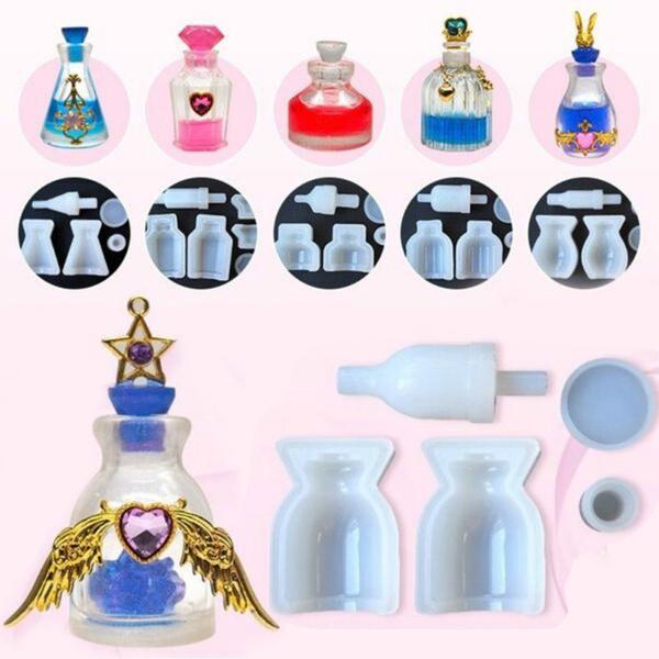 Silicone Mold DIY Perfume Bottle Glass Bottles Medicine Liquid Bottle Molds  Epoxy Resin Mold