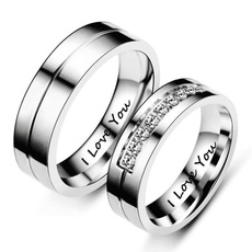 Steel, Couple Rings, DIAMOND, Love