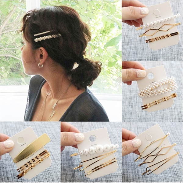 Metal  Women Geometric Irregular Hairpins  Barrettes Pearl Hairgrips Hair Clips