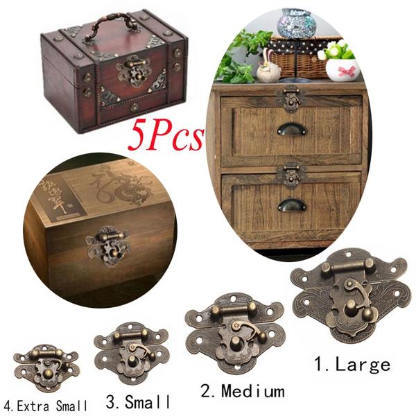 Antique Latch Clasp Decorative Hasp Lock Buckle Jewelry Box Suitcase Wood Chest
