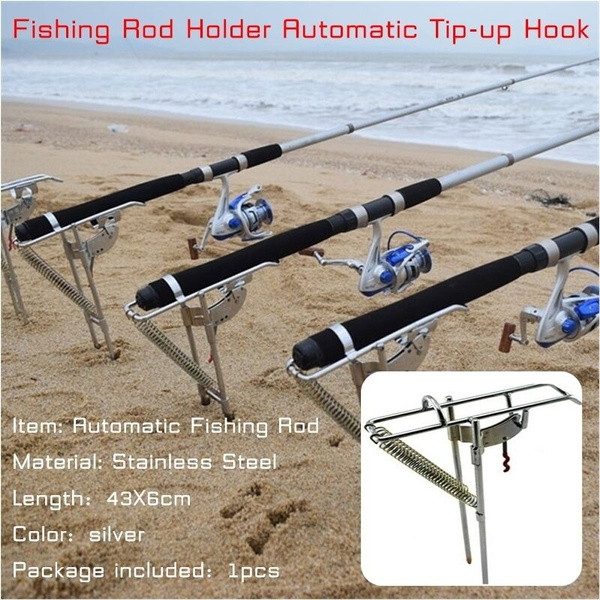 fishing rod holder automatic tip-up hook setter fishing rack stainless steel