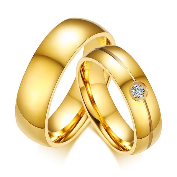 Luxury Wedding Rings Simple Design Couple Alliance Ring 6mm Width Band Ring For Women Men Come Velvet Bag Wish