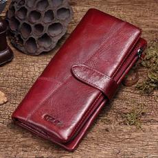 Genuine, leather, Clutch, rfid