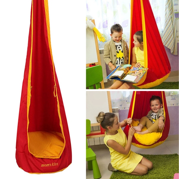 Fine Safety Kids Children Pod Swing Hammock Chair Play Reading Tent Indoor Garden Hanging Seat Toy Color Green Yellow Red Blue Bralicious Painted Fabric Chair Ideas Braliciousco