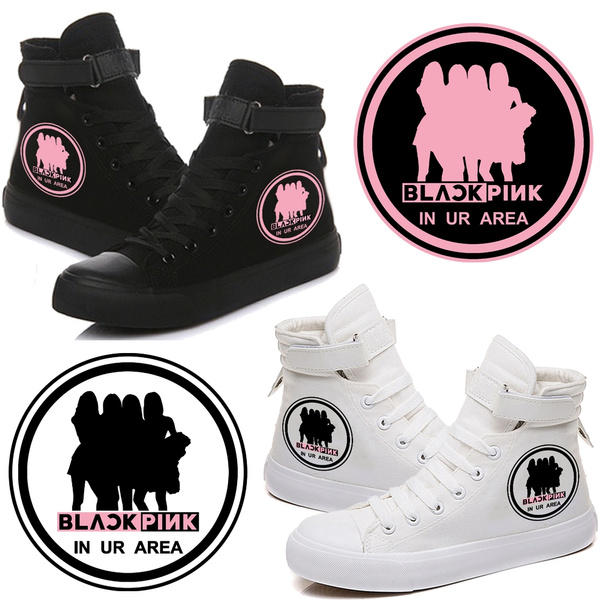 Kpop Girls Group Blackpink Jisoo Jennie Rose Lisa High Top Velcro