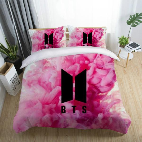 KPOP BTS Bangtan Boys Bedding Sets Girls Boys Kids Bed Linen Leaf Duvet  Cover Flat Sheets Pillowcase