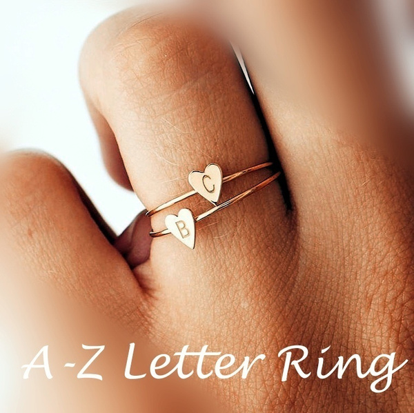 Custom Personalized Love Heart Alphabet Rings A-Z Initial Letter Name Rings  Couple Rings Jewelry Fashion Love Gift New Hot Sell