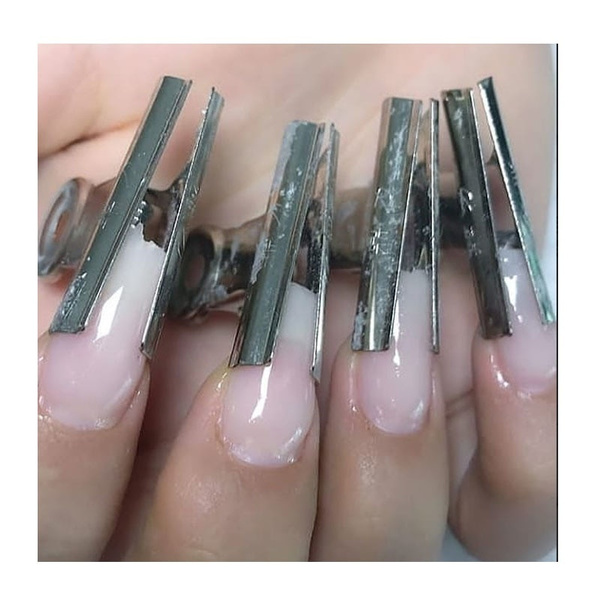 6Pcs Stainless Steel Acrylic Nail Pincher Clips Rusian C Curve Nail ...