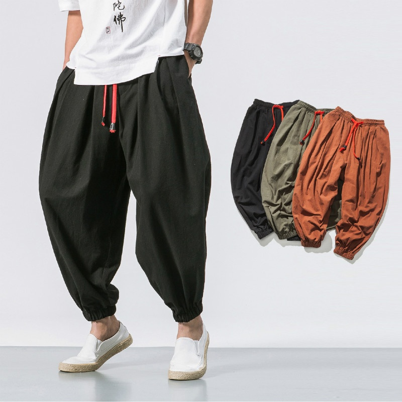 Men Linen Harem Pants Long Loose Trousers Casual Khaki Fashion Summer New Soft