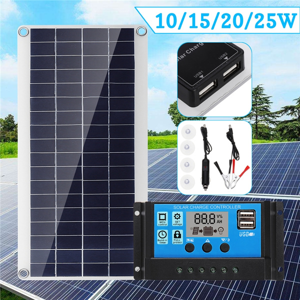 10//15//20 25W dual output solar charging panel with USB port polysilicon silico