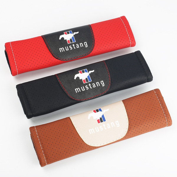 Mustang Car Brand Seat Belt Shoulder Pads Strap Covers Cushion 1 Pair for Car