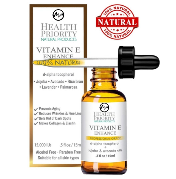 100% All Natural Organic Vitamin E Oil For Your Face & Skin - - Reduces  Wrinkles, Lightens Dark Spots, Heals Stretch Marks & Surgical Scars  Best