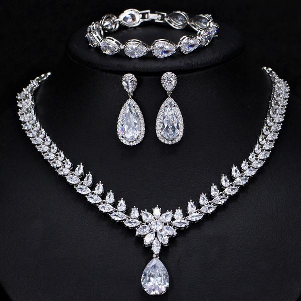 Chokers Women Fkraft Cubic Zirconia Latest Wedding Necklace Jewelry Set For Women Pwex Org