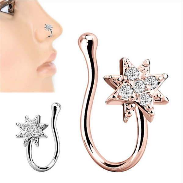 1pcs Crystal Flower Nose Rings Fake Septum Non Piercing Jewelry