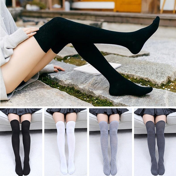 1 Pair Women Knitted Striped Over Knee Stockings Ladies Thigh High Cotton Breathable Long Socks Long Boot Spring Autumn Tights Sock by Wish