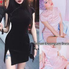 dress slim, short sleeve dress, cheongsamdresse, Chinese