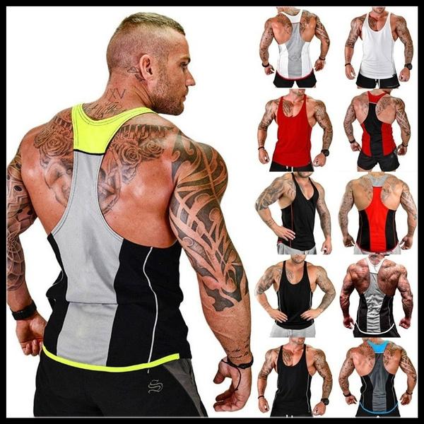 Gym Men/'s Muscle Sleeveless Tank Top Tee Shirt Bodybuilding Sport Fitness Vest