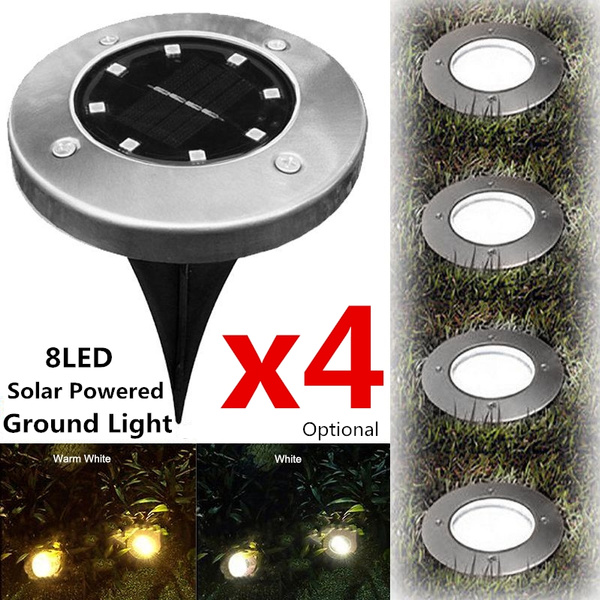 4PCS 8 LED Solar Power Buried Light Ground Lamp Path Way Garden Decking Cover