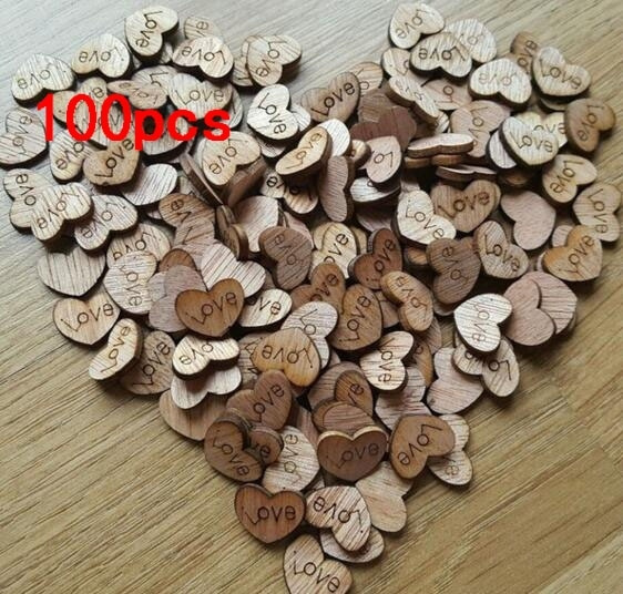 Crafts 100pcs Rustic Wooden Love Heart Wedding Table Scatter
