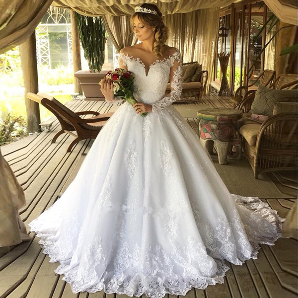 Abiti Da Sposa Wish.Vestido De Noiva Gelinlik Sexy Bohemian Lace Long Sleeve Ball Gown