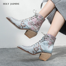 ankle boots, fashion women, Flowers, Floral print