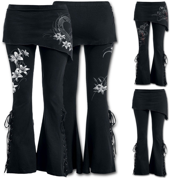 f7cbb4e34b8e0 On Sale Women 2 In 1 Boot Cut Leggings with Micro Slant Skirt Gothic ...