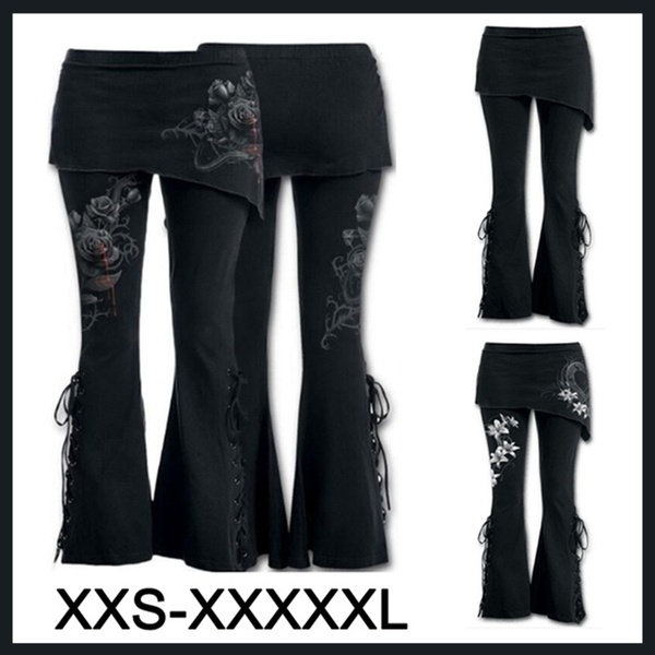 265f9757ffd03c On Sale Women 2 In 1 Boot Cut Leggings with Micro Slant Skirt Gothic ...