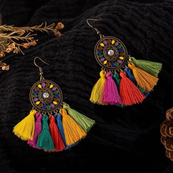 hobemianearring, ethnicearring, Tassels, Jewelry