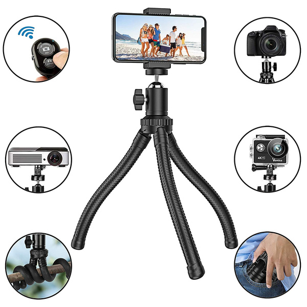 Flexible Phone Tripod Adjustable Anti-Crack Camera Tripod with Wireless  Remote Shutter and Universal Clip 360°Rotating Tripod Stand Holder for  Camera