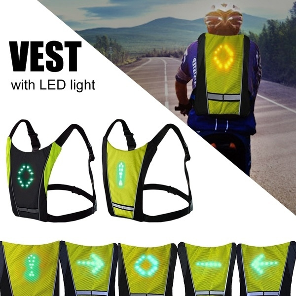 Cycling Bicycle Vest LED Wireless Safety Turn Signal Light Vest For Bicycle GA