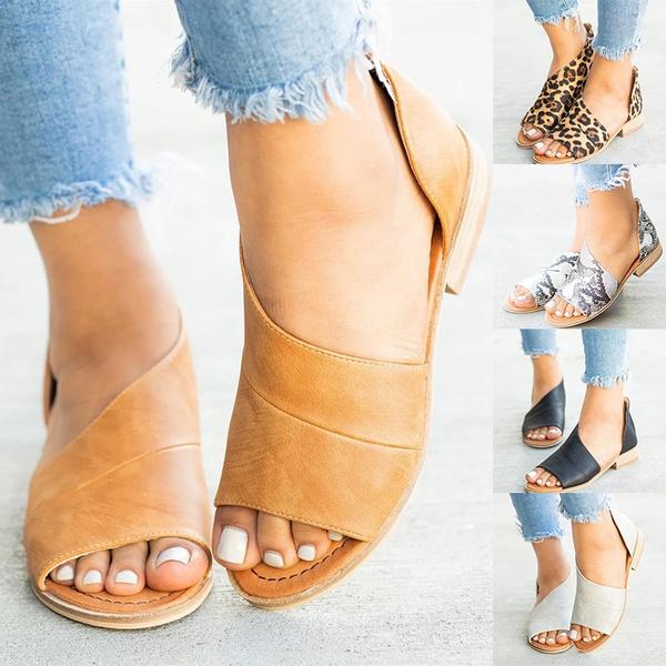 Women's Summer Open Toe Flat Sandals Side Laser Cutout Sandal Ankle Booties Flats Faux Leather Asymmetrical Sandal Peep Toe Flats Half Low Heel Shoes