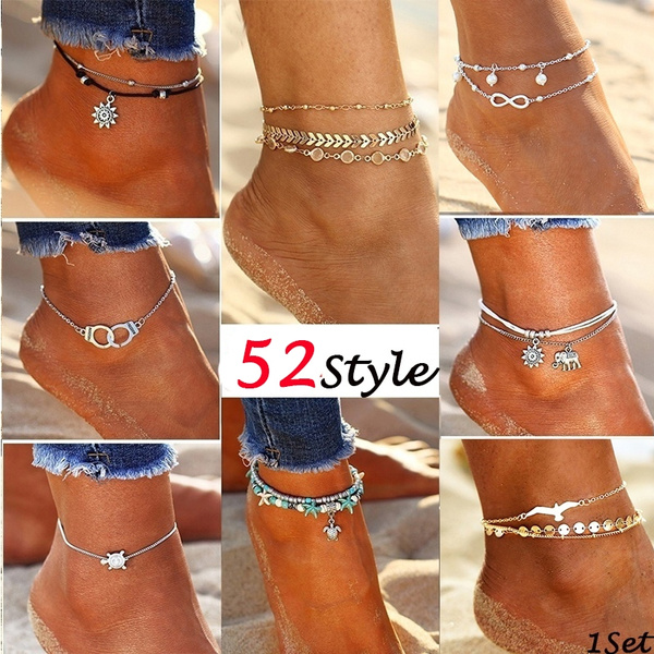 289a3f72335 Crystal Sequins Anklet Set for Women Beach Foot Jewelry Vintage ...