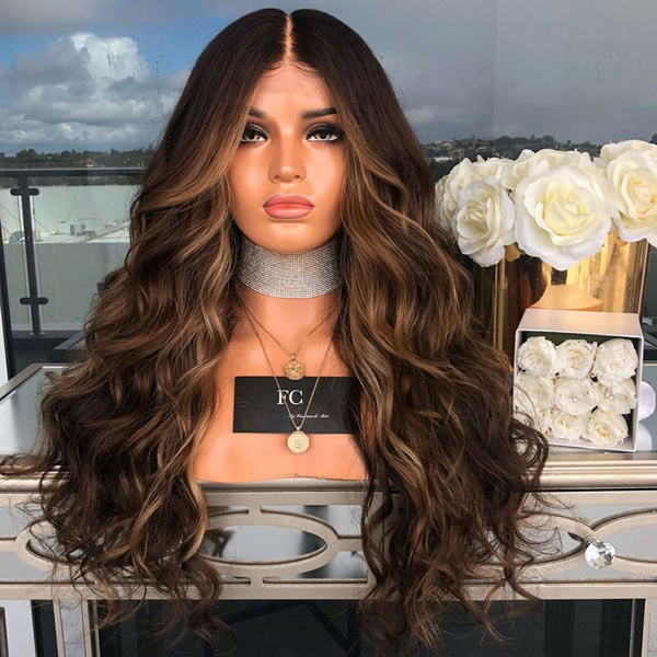 Fashion Body Wave Hair Style For Women Blonde Gradient Long Curly Hair Mixed Colors Synthetic Wig Halloween Costume