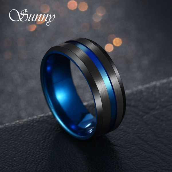 Sunny Hot Sale Groove Rings Black Blue Stainless Steel Midi Rings For Men  Charm Male Jewelry Dropshipping