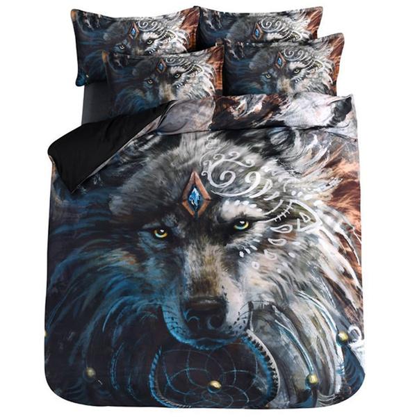 3D Wolf Warrior Dreamcatcher Quilt Cover Set Duvet Cover Bedding Set Pillowcase