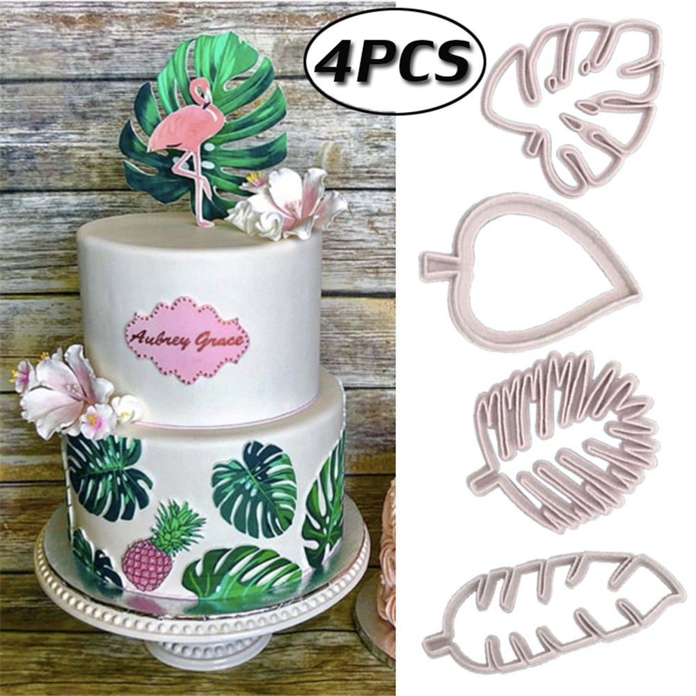4pcs//lot Tropical Leaves Fondant Cake Mold Embossed Candy Biscuits Cookie Cutter