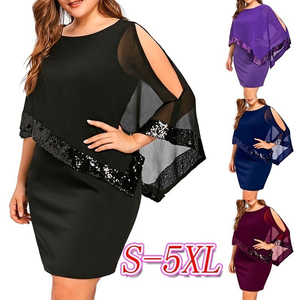 Women\'s Fashion Long Mesh Sleeve Sequin O-neck Package Hip Dress Slim Plus  Size Solid Color Party Dresses Lady Spring and Summer Club Prom Dress