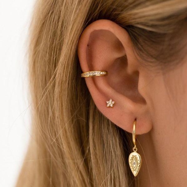1pcs Cartilage Piercing Gold Flower Zircon Piercing Tragus