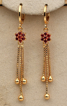 tasselsearring, Hoop Earring, ruby, Jewelry