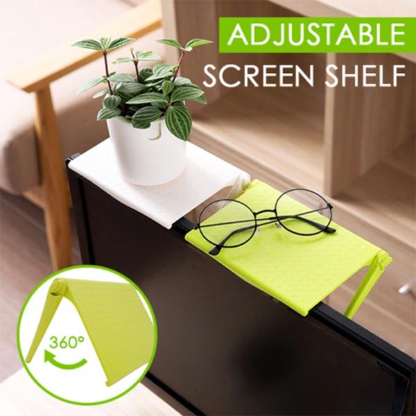 Adjustable Screen Shelf Office Computer Storage Rack Clip Table Desk Accessories