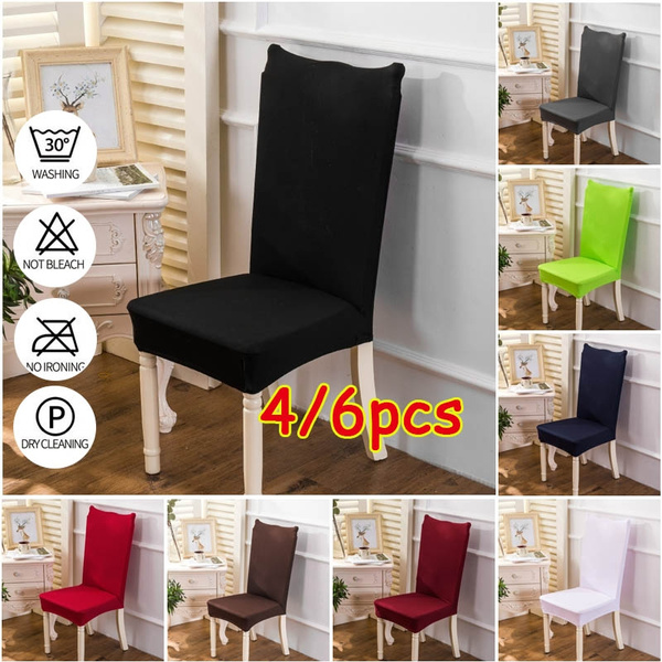 Groovy 4 6Pcs Soild Color Home Living Dining Chair Covers Spandex Stretch Dining Room Chair Protector Slipcover Decor Download Free Architecture Designs Scobabritishbridgeorg