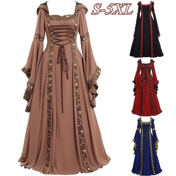 Gown and Calssic Cosplay Costume Long Sleeve Dress Medieval Vintage ...